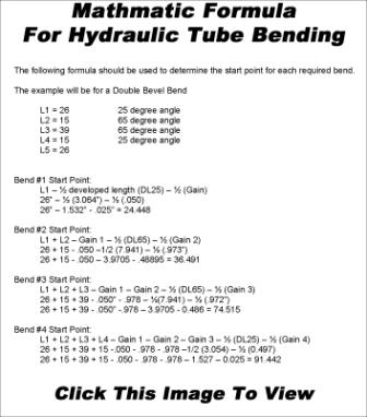 Mathmatic Formula For Hydraulic Tube Bending
