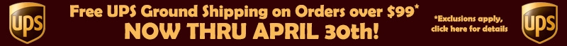 free UPS Shipping through April 30